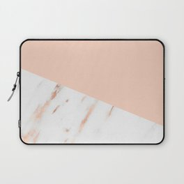 Pink Quartz and White Marble Rose Gold Laptop Sleeve