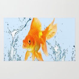 JUMPING  GOLDFISH SPLASHING  WATER ART Rug
