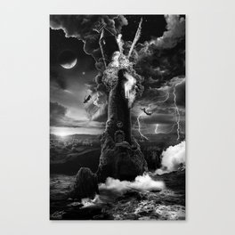 XVI. The Tower Tarot Illustration Canvas Print