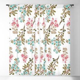 Colorful berries and Flowers Nature Pattern Blackout Curtain