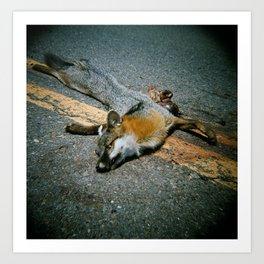 Roadkill Fox Art Print