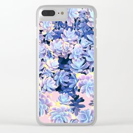 Cactus Fall - Blue and Pink Clear iPhone Case