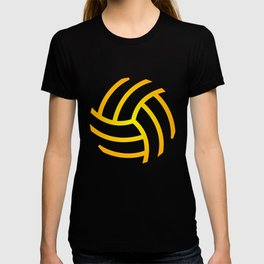 Volleyball Electric Yellow Outline T-shirt
