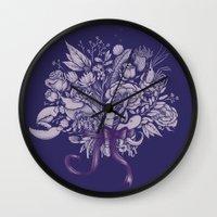 victorian Wall Clocks featuring Undersea Victorian by Lidija Paradinović Nagulov - Celandine