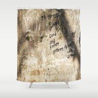 derek hale Shower Curtains featuring To Derek and Stuart by Nicole Rosemarie