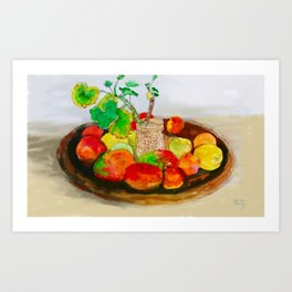 Watercolor Still Life with Mangoes and Apples Art Print