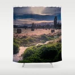 Hay Bales In The Morning Shower Curtain