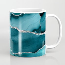 Glamour Turquoise Blue Bohemian Watercolor Marble With Silver Glitter Veins Coffee Mug