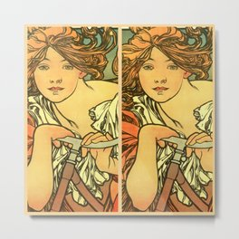 "Alphonse Mucha ""Cycles Perfecta"" Metal Print"
