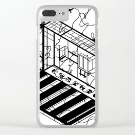 Abstract Sci-Fi Circuit Design - Minimalist Art Clear iPhone Case