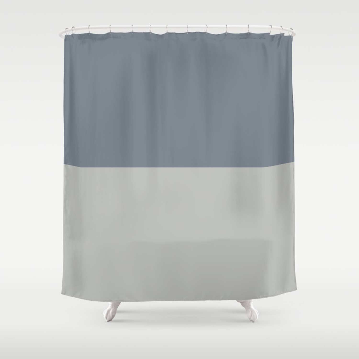 Benjamin Moore 2019 Color Of Year Metropolitan And Black Pepper Gray Bold Horizontal Stripes Shower Curtain