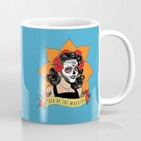 dia de los muertos Mugs featuring Dia de los Muertos by Karen Vaughan