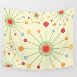 Mid Century Modern Retro 1970s Inspired SunBurst in Muted Colors Wall Tapestry