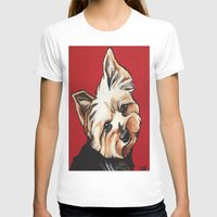 yorkie T-shirts featuring Pet/Dog Portrait of Yorkshire Terrier/Yorkie on Red by Cheney Beshara