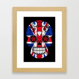 Sugar Skull with Roses and the Union Jack Flag Framed Art Print