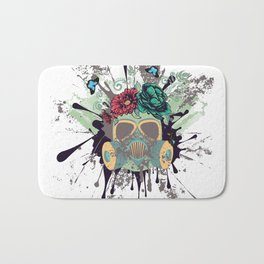 Green Gas Mask with Roses Bath Mat
