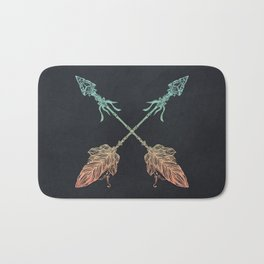 Arrows Turquoise Coral on Navy Bath Mat