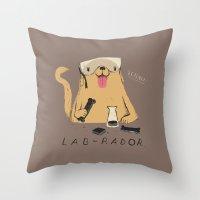 lab Throw Pillows featuring lab-rador by Louis Roskosch