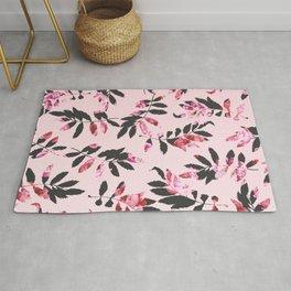 Girly Modern Pink Blush Black Floral Print Leaves Rug