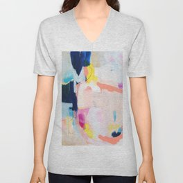 Passions II - abstract art in navy, blush, teal, white, and yellow Unisex V-Neck