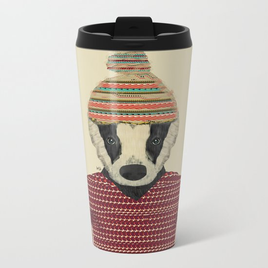 seb the badger  Metal Travel Mug