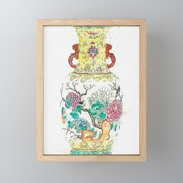 A FAMILLE ROSE TWO-HANDLED 'BIRDS AND FLOWERS' VASE watercolor by Ahmet Asar Framed Mini Art Print