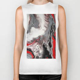 No Dice - Black, Silver and Red Abstract Biker Tank