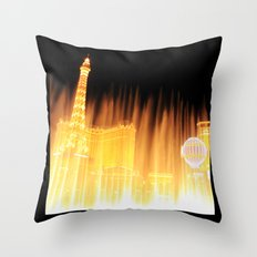 The golden fountains of Bellagio in Vegas Throw Pillow