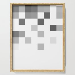 Gray Scale In Pixels Serving Tray