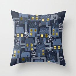 Houses and Christmas Throw Pillow