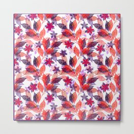 Red, or purple flowers and branches on a white background. Metal Print
