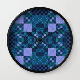 Elegant Geometric High Definition Quilt Lavender Teal Wall Clock
