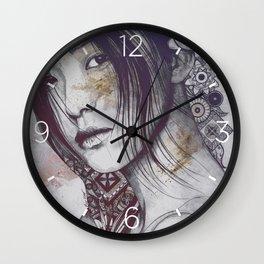 Stoic: Violet (japanese girl with mandalas) Wall Clock