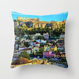 Daytime view of the Acropolis ruins; Athens, Greece Throw Pillow