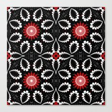 Modern Patterns and Flowers in red, black & white Canvas Print