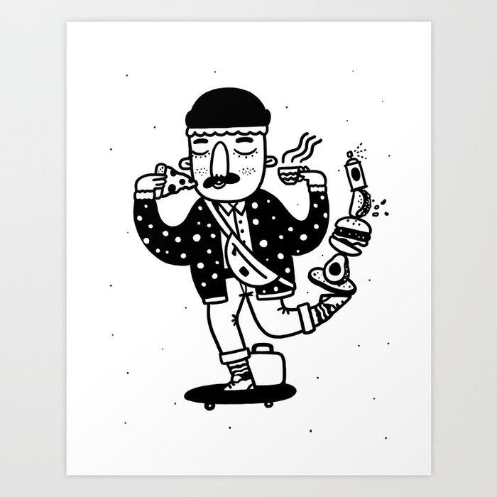Skate Foodie Art Print