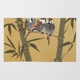 Three Sparrows In Bamboo Tree Rug