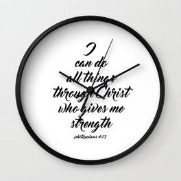 Philippians 4:13 Bible Verse Wall Clock