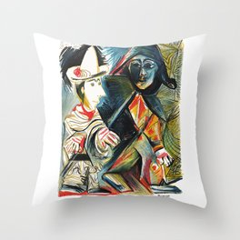 Pablo Picasso Le clown et l'Harlequin (The Clown and the Harlequin) 1971 Artwork, tshirt, tee, jerse Throw Pillow