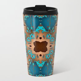 Brown Blue Azalea 1 Metal Travel Mug