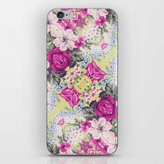 Trendy Vintage Purple Teal Floral Fashion Pattern iPhone & iPod Skin