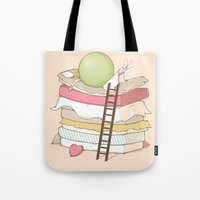 sleep Tote Bags featuring Can't sleep by Naolito