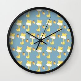 Cute Giraffe Pattern with Balloons Wall Clock