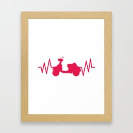 Scooter With Heartbeat Moped And Scooter Gifts Framed Art Print