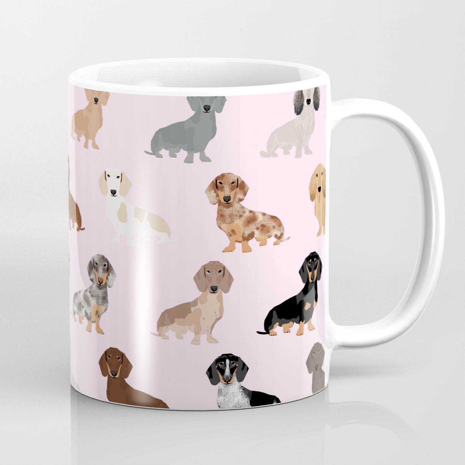 Dachshund Dog Breed Pet Pattern Doxie Coats Dapple Merle Red Black And Tan Coffee Mug By Petfriendly Society6