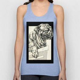 Geometric Black and White Animal portrait Pug Unisex Tank Top
