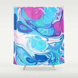Pink Blue Marble 'Sarah' Shower Curtain