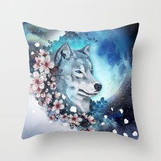 wolf and sakura in the moolight Throw Pillow