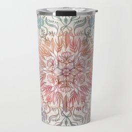 Autumn Spice Mandala in Coral, Cream and Rose Travel Mug