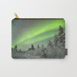 Aurora borealis over a track through winter landscape, Finnish Lapland Carry-All Pouch